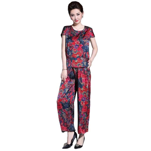 8323b8a2676 Plus size L-4XL Printing two piece suit women 2018 summer fashion chiffon sets  women short sleeve t-shirt+wide leg pants suit