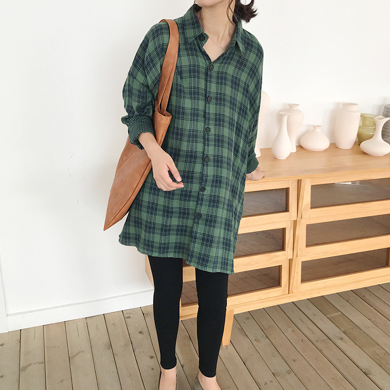 Autumn Maternity Women Shirts Cotton Long Sleeve Green Plaid Blouse Loose Tops for Pregnanct Women Oversized Maternity Clothing