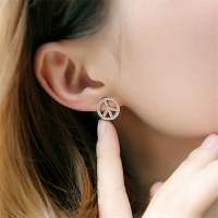 Korean Temperament Concise Peace Sign Micro Studded Zircon Earrings Jewelry Female