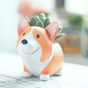 Image 3 - Creative Cute Cartoon Corgi Dog Flowerpot Resin Succulent Planter Cactus Home Office Decoration Garden Supplies Christmas Gift