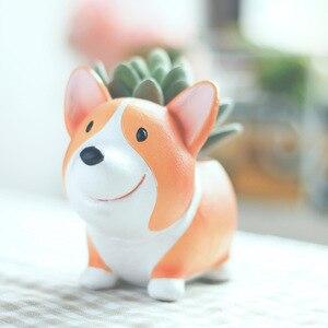 Image 3 - Criativo bonito dos desenhos animados corgi cão vaso de flores resina suculenta plantador cacto casa decoração escritório jardim suprimentos natal presente
