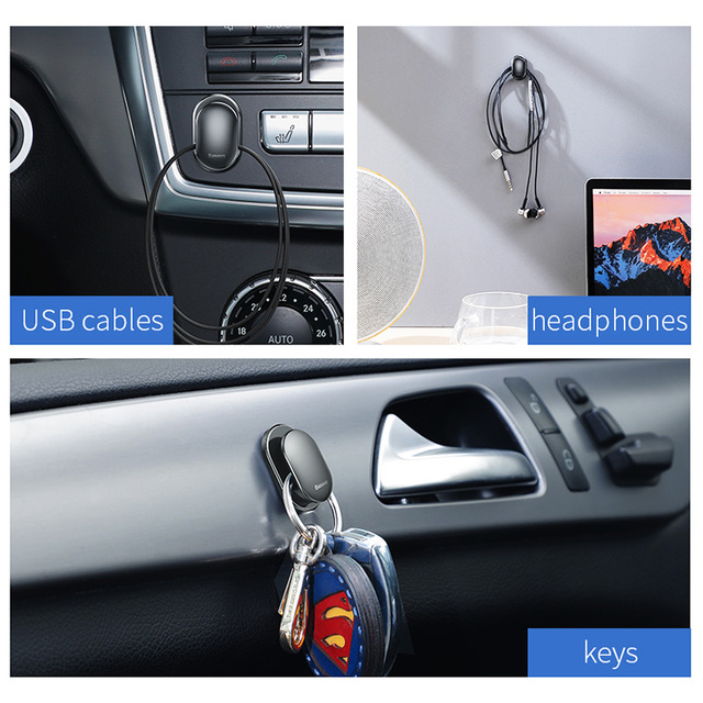 Baseus 4Pcs Car Phone Holder Suction Cup Sucker Self Adhesive Wall Hooks Hanger