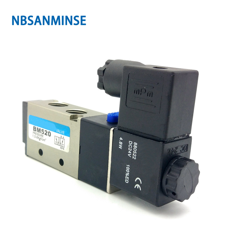 BM520 22mm Valve G 1/4  Pneumatic Solenoid Two Position Five Way Air Control Sanmin