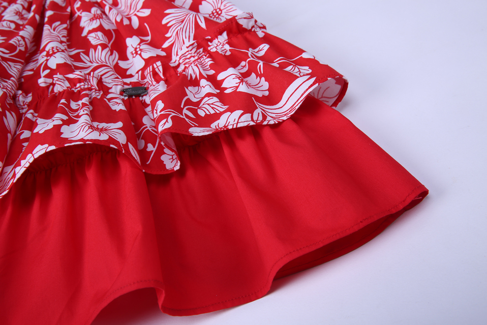 Pettigirl Red Flower Print Girls Dresses Baby Kids Dress With Headband Girl Sleeveless Clothes Summer G-DMGD101-A219