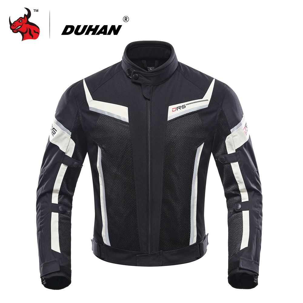 DUHAN Motorcycle Jacket Summer Mesh Moto Racing Jacket Motorcycle Protective Clothing Blouson Moto Black And Gray pro biker mcs 04 motorcycle racing half finger protective gloves red black size m pair