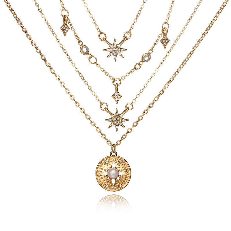 Urok łańcuch wielowarstwowe kryształ gwiazda wisiorek z księżycem naszyjnik dla kobiet w stylu Vintage marki Chunky Bib Choker naszyjnik komunikat biżuteria