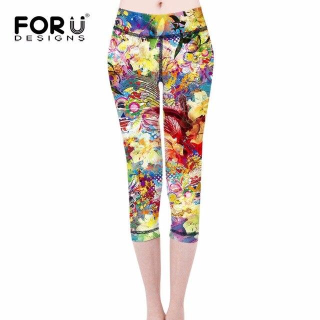 FORUDESIGNS Flower Printed Legging Fashion Slim Women leggings High Elastic Soft Stretch Pants female Summer Leggins Sexy Pants