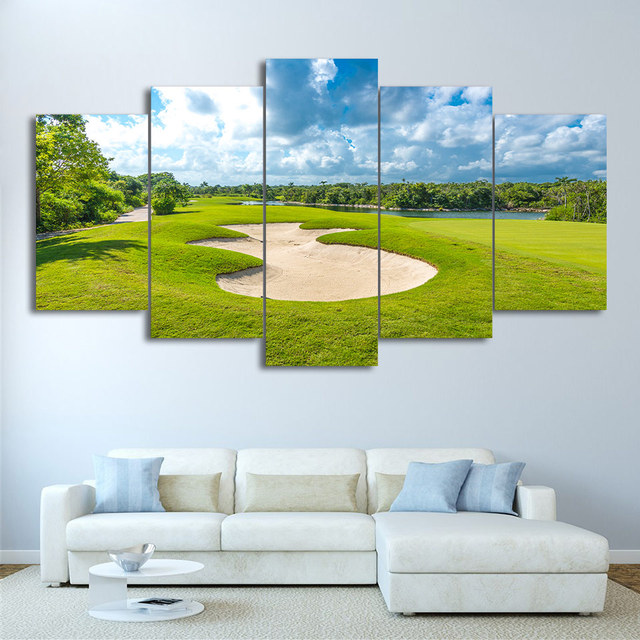 Home Decor Frame 5 Panel Golf Course Ball Modular Art Canvas ...