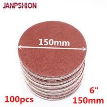 "Купить с кэшбэком JANPSHION 100pcs 6"" 150mm Hook & Loop Sandpaper Sanding Disc for Sander with Grits 60 80 120 180 240 320 400 600 800 1000 1200"