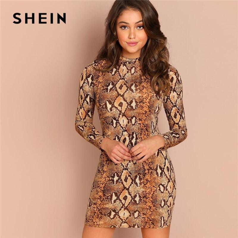 SHEIN Brown Party Sexy Snake Skin Mock Neck Long Sleeve Skinny Short Dress Autumn Club Elegant Modern Lady Women Dresses