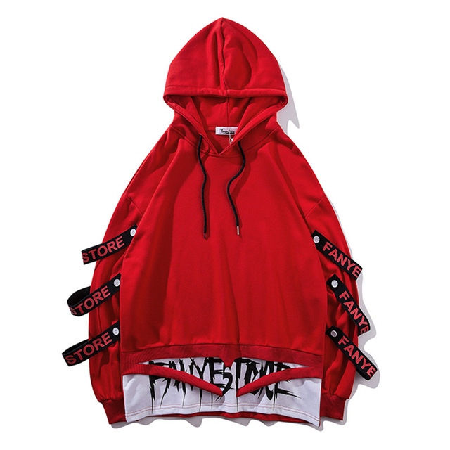Fake 2 Pieces Ribbons Hooded Pullover 6