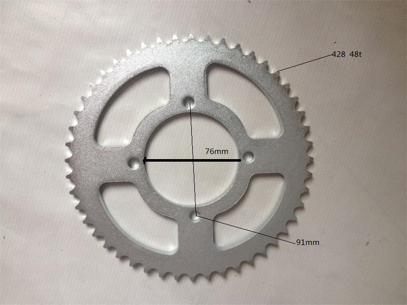motocicleta scooter motorcycle parts <font><b>sprocket</b></font> tandwiel 48 tooth for 428 chain dirt pitbike MOTOCROSS moto crf klx ttr image