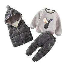 תינוקת ילד חג המולד בגדי סט חורף אופנה ילדים בני לעבות חם צמר בגדי ברדס אפוד צמרות מכנסיים 3Pcs פעוט תלבושות
