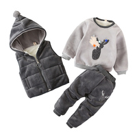 Baby Girl Boy Xmas Clothing Set Winter Fashion Kids Boys Thicken Warm Fleece Clothes Hooded Vest Tops Pants 3Pcs Toddler Outfits