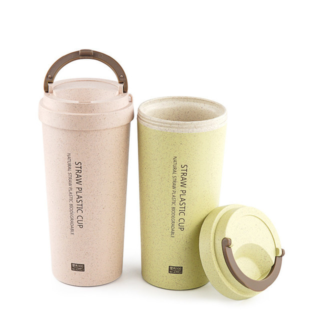 500ml bpa-free Hot Selling milk cup of NATURAL Green Wheat Straw PLASTIC BIODEGRADABLE  Drinking coffee tea mug