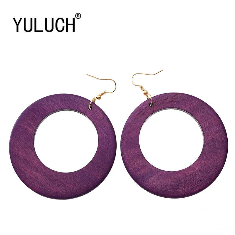 YULUCH Simple Wooden Round Large-size Pendant Earrings for Women's Party New Year's Gift for Girls Ladies Fashion Jewelry Wood