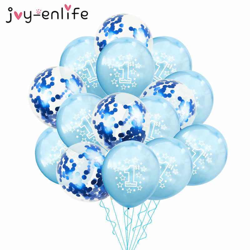 JOY ENLIFE 10pcs Blue 1st Birthday Balloon One 1 Year Old First Happy Party