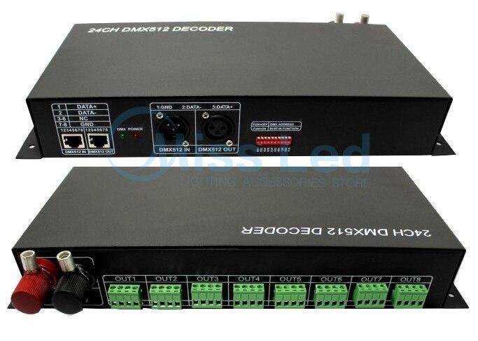 24CH DMX512 Decoder wireless control DMXTCON-24CH-LV DC12-24V dmx512 digital display 24ch dmx address controller dc5v 24v each ch max 3a 8 groups rgb controller