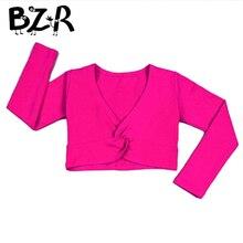Bazzery/Новинка г. Балетный гимнастический купальник для девочек свитер для танцев с длинными рукавами, топ, пальто Детская танцевальная одежда, куртка балетная накидка