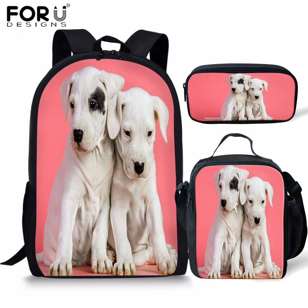 FORUDESIGNS 3pcs/set Juvenile Dog Printing School Bags For Girls Orthopedic Backpack Primary Children Bookbag Pencil Case Child