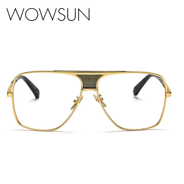 Aliexpress.com : Buy WOWSUN Big Oval Gold Metal Frame Glasses ...
