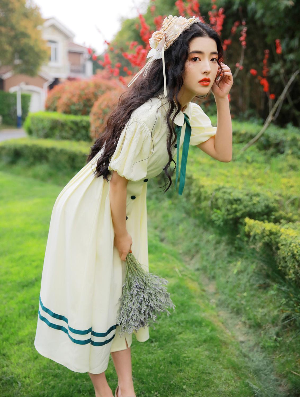 Ubei Women summer fairy dress retro puff sleeve dress sweet female peter pan collar high waist summer dress in Dresses from Women 39 s Clothing