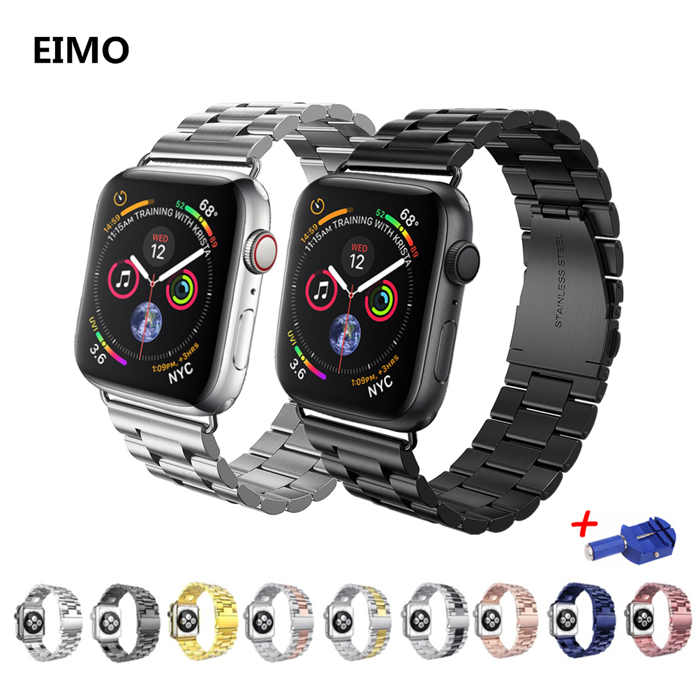 купить Stainless steel for apple watch band aple watch correa 42mm 38mm 44mm 40mm iwatch series 4 3 2 1 Link bracelet wrist Watchband по цене 523.84 рублей