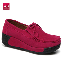 Vivident Casual Platform Flats Shoes Genuine Leather Loafers Shake Shoe S Women Rubber Slip On Female