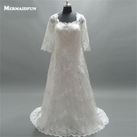 2018 Real Photos A Line 3/4 Three Quarter Plus Size Lace Wedding Dress Large Size Wedding Gown Robe De Marriage
