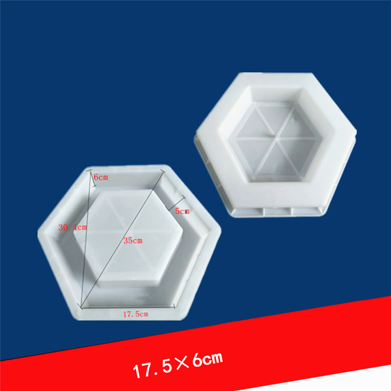 DIY Path Maker  Hexagon  Hole Shape Garden Path Concrete Plastic Brick Mold Paving Pavement Walkway Plastic Molds 17.5x6cm