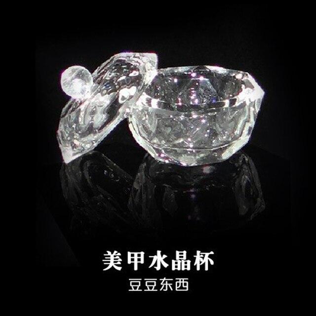 1 PC קריסטל זכוכית Dappen מכסה צלחת קערת כוס מחזיק מניקור ציוד נייל כלי נייל אמנות אקריליק אבקה נוזלי