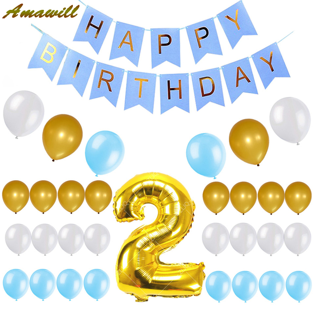 Amawill Baby Boy 2nd Birthday Set Happy Blue Banner Gold Number 2 Balloon Latex Balloons