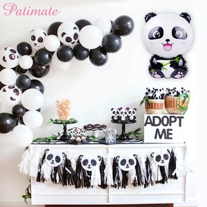 PATIMATE Panda Foil Balloon One Year Birthday Party Decoration Jungle Party Decoration Panda Birthday Balloon Helium Balloon