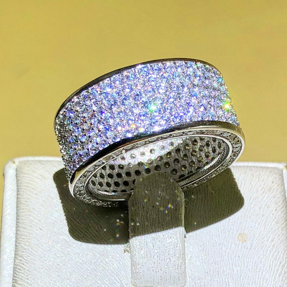 Jóias de luxo Parágrafo 925 Jóia De Prata de pedra Anéis de Dedo Brilhante Seis linhas 320 pcs CZ Completa Diamant Anel para As Mulheres homens