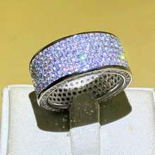 Luxurious Jewelry Paragraph 925 Silver Gem stone Rings Finger Shining Six rows 320pcs CZ Full Diamant Ring for Women Men(China)