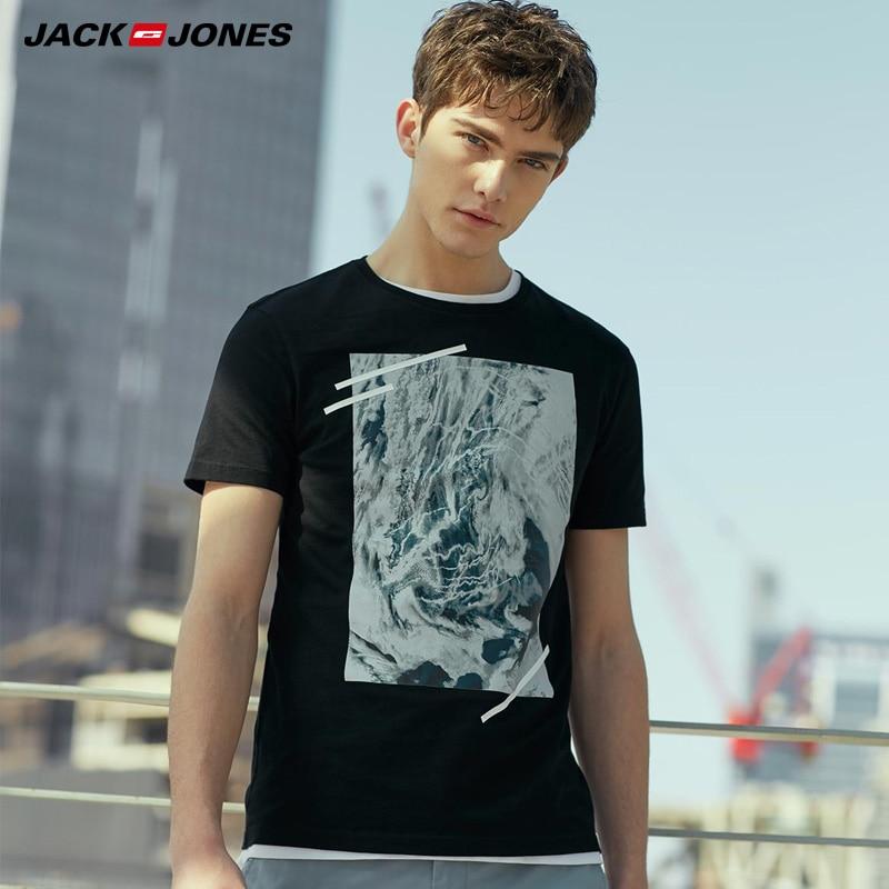 JackJones Men's Autumn & Winter 100% Cotton Slim Fit Printed Round Neckline Elbow Sleeves T-shirt  2181T4514