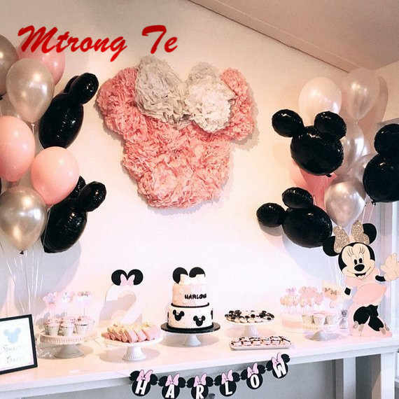 "1set Mickey Minnie Head Foil Balloons Pink Silver 10"" Latex Balloon For Theme Party Birthday Party Wedding Decoration Ball"
