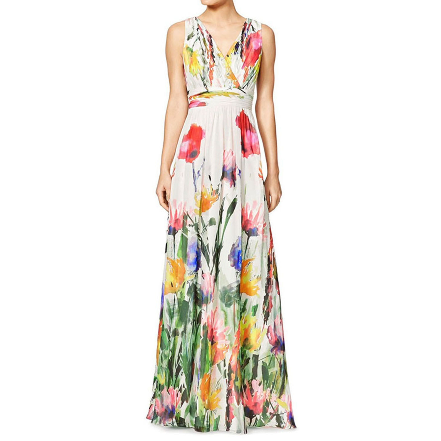 Woman Sleeveless Crossover V Neck Floral Print Empire Waist font b Maxi b font font b
