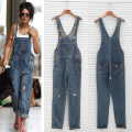 2017 Fashion Women's Baggy Denim Jumpsuit Jeans Full Length Female Casual Plus Size Overall Playsuit With Pocket