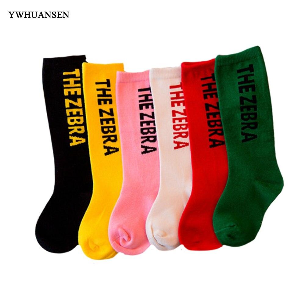 YWHUANSEN new Four Seasons Universal Fashion original design Children Socks Cotton Unisex personality letters baby high Socks