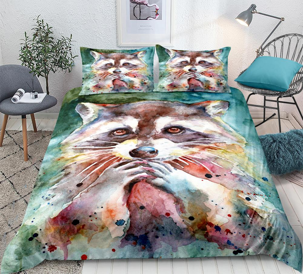 Raccoon Bedding Set Lovely Cartoon Duvet Cover Cute Printing And Dyeing Patterns Kids Bed  Home Textiles 3-piece