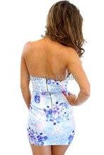 2015 Newest Limited Rushed Natural Denim Tropical Women Dress Sexy Lady Flower Plunge Bandeau Dress Wrap Bodycon Slim Club Dress