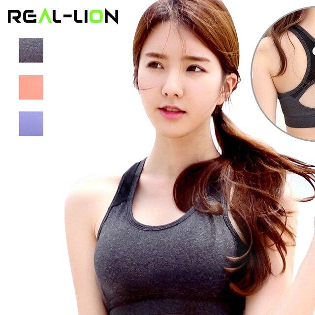 RealLion  Yoga Bra Women Training Sexy Push Up Sports Bra Tops Quick Dry Running Vest Female Brassiere Femme