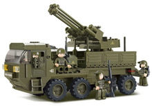 Heavy transport truck army antiaircraft artillery Assembled Plastic Model Building Blocks Bricks 3D Educational Toys for Kids