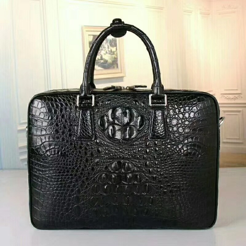 Business Style Genuine Crocodile Skin Leather Zipper Closure Men's Large Portfolio Briefcase Handbag Male Shoulder Messenger Bag