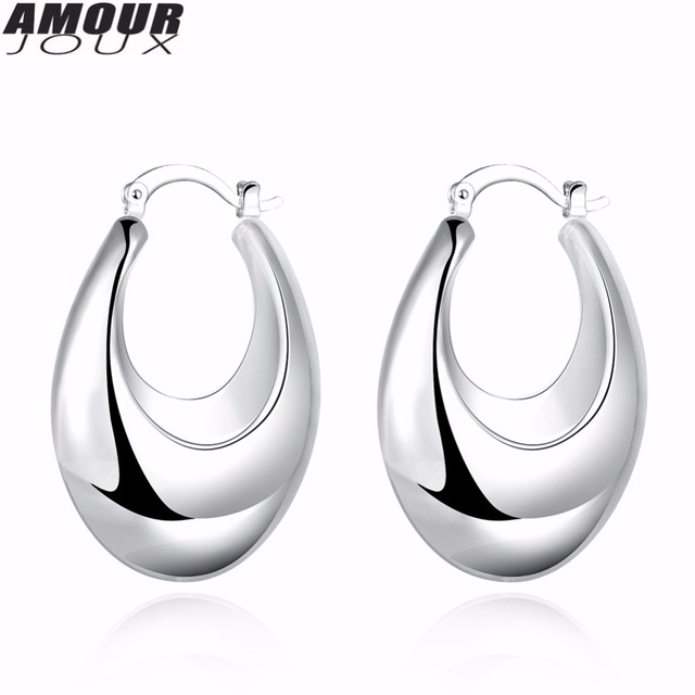 Amourjoux New Fashion Wide Polished Round Silver Color Clip Earrings For Women Female Earring Clips