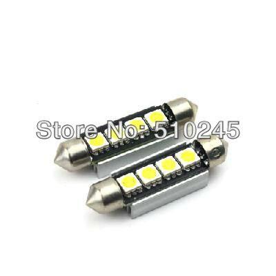 50x Wholesale Car led festoon 42mm light c5w 4 led smd 4smd 5050 CANBUS OBC error free led lamp