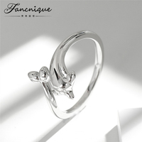 Fancnique 925 Sterling Silver Animal Design Dolphin Ring Adjustable Trendy Silver Jewelry