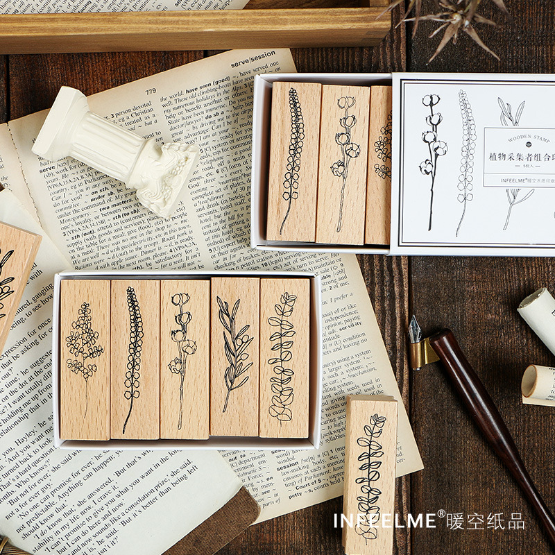 5 Pcs/set Vintage Plant Wood Stamp DIY Craft Wooden Rubber Stamps For Scrapbooking Diary Scrapbooking Standard Stamp