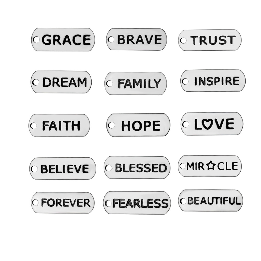 BULK 30pcs Stainless Steel Trust Inspire Faith Hope Love Believe Blessed Fearless Brave Miracle Charms Rectangle Word Pendant